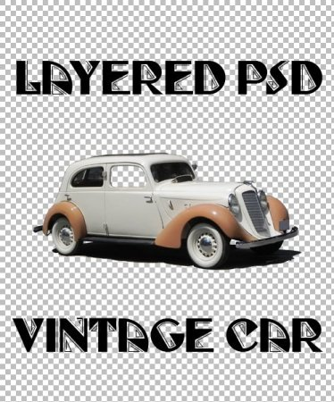 Vintage car - layered PSD file